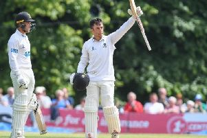 Tom Haines celebrates reaching his maiden Sussex century at Arundel Castle. Picture by Phil Westlake (PW Sporting Photography)
