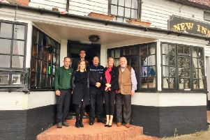 Pictured from left to right are  Jay Carroll, chairman of Heart of Sidley, Sophie Goodall, head of corporate affairs for Star Pubs & Bars, Huw Merriman MP, PCSO Roy Goodall, Sam Tobin, south-east business development manager for Star Pubs & Bars, and Cllr Jimmy Carroll SUS-181031-102212001
