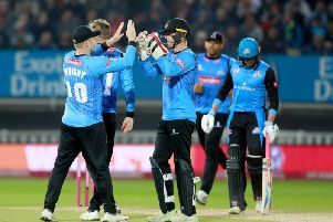 Sussex celebrate a wicket on Finals Day