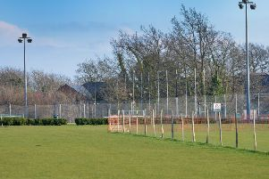 The cricket pitch in the foreground and sand-dressed artificial pitch in the background at Horntye Park Sports Complex
