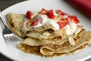 Berryworld strawberry, toasted almond and caramel pancakes. Picture: Berryworld.com SUS-180213-124829001