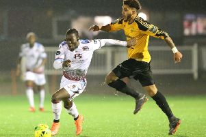 Youssouf Bamba on the ball for Hastings United against Merstham back in November. Picture courtesy Scott White