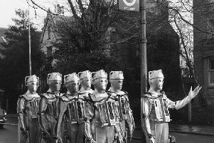 19th January 1967: The Cybermen, enemies of Dr Who, the children's Sci-Fi programme on BBC TV seem to have lost their way and are reduced to queuing at a bus stop
