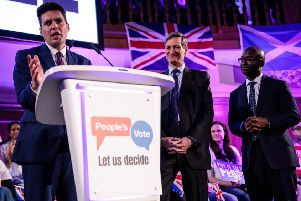 MP Huw Merriman (L) speaks at a 'People's Vote' rally calling for another referendum on Brexit on April 9, 2019 in London, England.  (Photo by Jack Taylor/Getty Images)