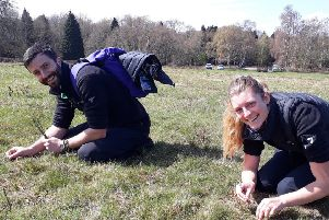 South Downs National Park rangers Kate Dziubinska and Charles Winchester, working as part of the task force to rehome field crickets