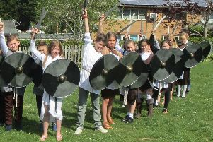 Little Common School  Year 4 children at Little Common School get 'hands on' with the Saxons. Hands on History SUS-190605-113157001