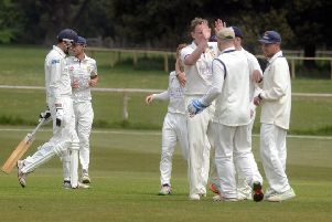 Hastings Priory celebrate a wicket during last weekend's win away to Chichester Priory Park. Picture courtesy Kate Shemilt