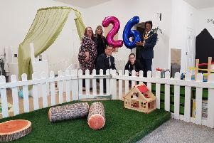 Katie from the Pebsham Community Committee, Kirsty Streets, co-owner of Bright Beginnings, Ian Woodward, NatWest relationship manager, Abul Azad, Mayor of Bexhill and Emily from the Pebsham Community Committee. The 26 signifies the new capacity of the nursery SUS-190524-133923001