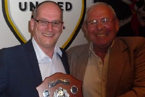 New Bexhill United chairman Graham Cox (left) with his predecessor Bill Harrison. Picture courtesy Mark Killy