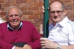 New Bexhill United chairman Graham Cox (right) alongside predecessor Bill Harrison. Picture courtesy Mark Killy