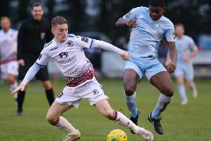 Hastings United on the ball for Hastings United against Whyteleafe during January. Picture courtesy Scott White