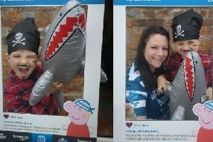 Laura and her son from Water Babies East Sussex and Tunbridge Wells preparing for their Peppa Pig themed Tommy's Splashathon SUS-190619-171212001
