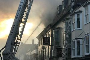 An aeriel ladder platform was used to tackle the blaze. Picture: Megan Wright