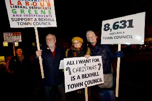 Supporters of a Bexhill town council back in December 2017