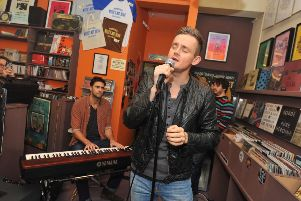 Keane playing an informal gig at 'Music's Not Dead' in 2013