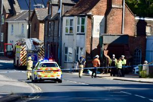 Malling Street in Lewes has been closed due to the incident. Picture: Dan Jessup