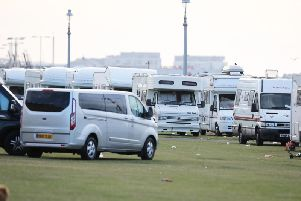 Travellers have pitched up on Hove Lawns. Picture: Eddie Mitchell
