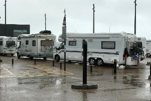 The travellers at the Stade in Hastings