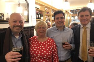 Jonathan Kent, Christine Bayliss, Huw Merriman and Martin Saunders after the hustings SUS-191128-114634001