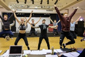 The Aladdin cast in a high-energy rehearsal. Photograph by Peter Mould