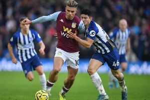 Aston Villa's Jack Grealish scored his third goal against Brighton this season with a second half equaliser at the Amex Stadium
