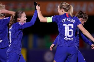 Guro Reiten of Chelsea celebrates with Magdalena Eriksson after scoring her team's first goal during the Barclays FA Women's Super League match between Chelsea and Birmingham City at Kingsmeadow  (Photo by Linnea Rheborg/Getty Images)