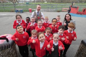 Pupils at King Offa Primary Academy celebrating another 'good' rating from Ofsted