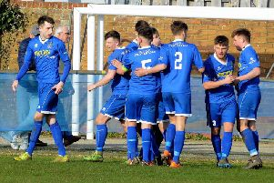 Selsey of SCFL division one celebrate a goal against Seaford - it was one of many games to go ahead last Saturday / Picture: Kate Shemilt