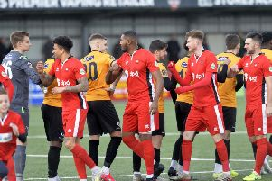 Elbow bumps replaced handshakes as the Eastbourne Boro-Maidstone game was played on Saturday / Picture: Jon Rigby