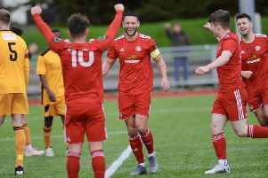 Worthing celebrate a goal against Merstham in January - now their season's efforts have been shown to be in vain / Picture: Stephen Goodger