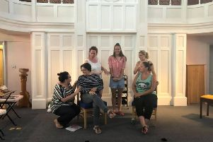Biggleswade Amateur Theatrical Society in rehearsals for Steel Magnolias.