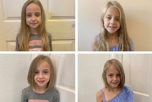 Liah (left) and Peyton (right) had their hair cut for the Little Princess Trust