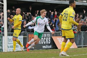 Snorre Nilsen celebrates his winner for Bognor in their FA Trophy semi-final victory against Torquay Picture: Tim Hale