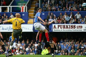Hermann Hreidarsson scores for Pompey in the 7-4 victory against Reading in September, 2007