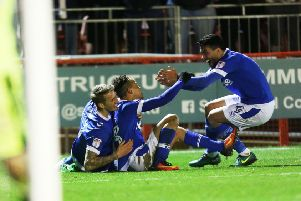 Pompey got back on track on Tuesday with victory at Crawley. Picture: Joe Pepler