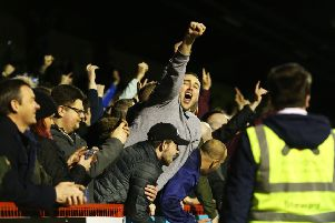 Pompey fans sang their new song at Crawley last night Pic: Joe Pepler