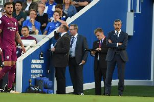 Brighton & Hove Albion manager Chris Hughton on the touchline against Manchster City. Picture by PW Sporting Pics.