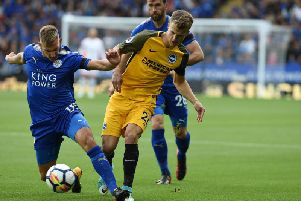 Solly March battles for the ball with Leicester City's Marc Albrighton. Picture by PW Sporting Pics
