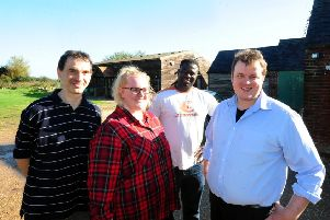 ks171076-1 Bog Ark Project  phot kate Team members from Willow Barn, hoping to have a new Day Centre Facility. From left: Support workers, Jose Ermina, Fiona McCafferty, and Mo  Bah, with day service manager, Alex Fryer,ks171076-1 SUS-170310-213727008