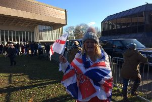Zoe McManus, 32, turned out to cheer the Queen in a Union Jack themed outfit at Chichester Festival Theatre.