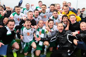 The Rocks celebrate their play-off final win / Picture by Kate Shemilt