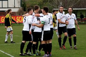 Pagham celebrate at Nyetimber Lane / Picture by Roger Smith