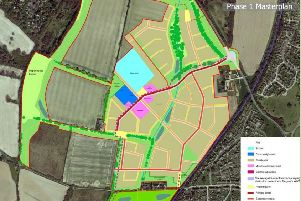 Whitehouse Farm Phase 1 masterplan showing where the homes, school and community hub will go