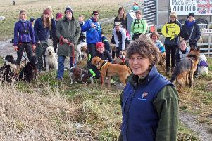Farmer Caroline Harriott and supporters at the awareness event at Cissbury Ring