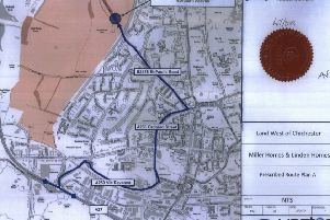 Map on the public planning documents show the 'prescribed route' for traffic to access the north of the site off Old Broyle Road. Vectos