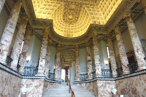 Holkham Hall's magnificent Marble Hall.