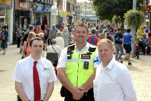 From left, Mark Halls, store manager of Wilko and a director of Bognor Regis BID, Martin Caiger, the new community warden, and Paul Wells, chairman of Bognor Regis BID. Photograph Kate Shemilt (ks180435-1)