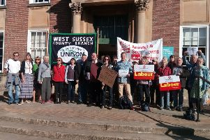 The protesters outside County Hall