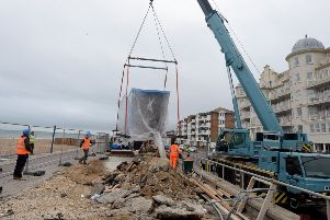 The new toilet block on Bognor Regis seafront was craned in yesterday morning. Photograph Kate Shemilt/ ks180482-1