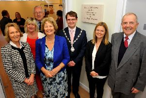Samuel Wickens centre unveiling at Rustington. Virginia Collyer, Alison Cooper, Sir Peter Bottomly MP, Jacky Wickens, Jamie Bennett (Chair parish council), Sarah Wickens. Roger Wickens, Pic Steve Robards SR1812180 SUS-180405-111521001